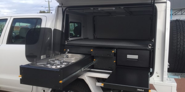 camper module cooktop, workbench and fridge